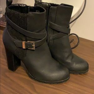 Block booties with gold buckle